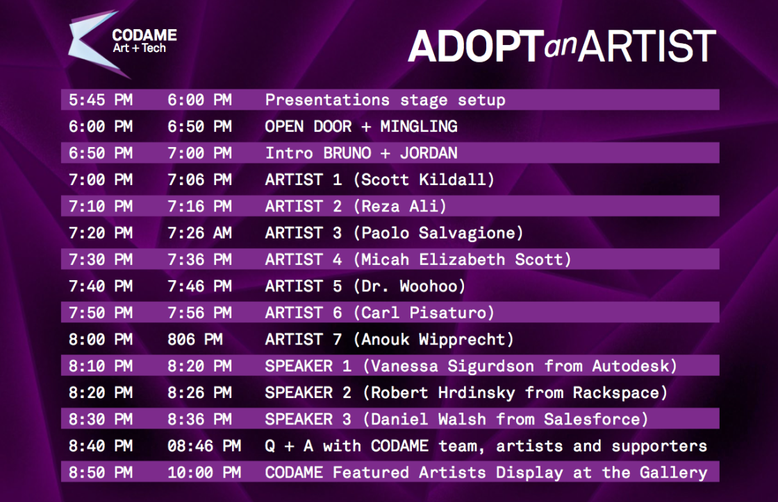 Adopt An Artist Showcase Schedule